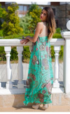 Дълга рокля в зелено Мейси