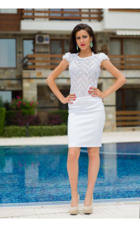 Дантелена бяла блуза Шелдън