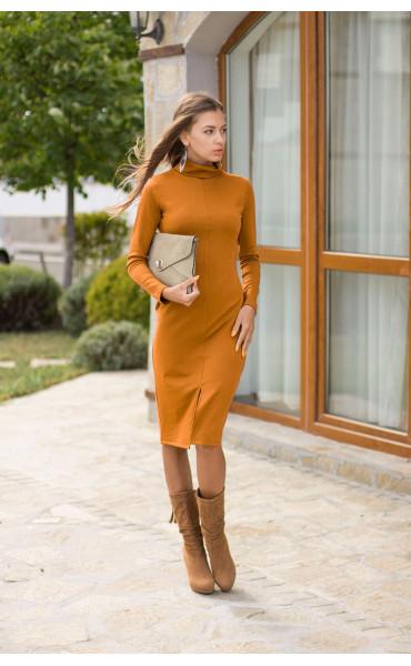 рокля Стефания в цвят горчица