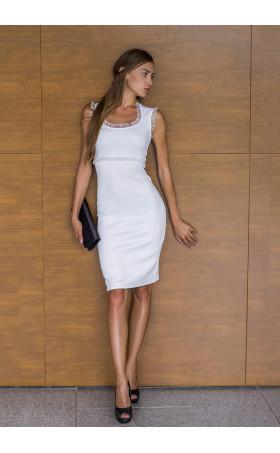 Елегантна рокля Магдалена в бяло