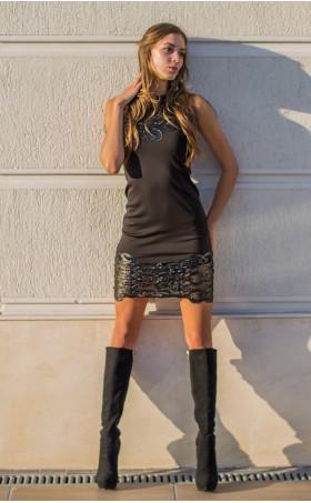 Черна рокля с 3d кожена дантела