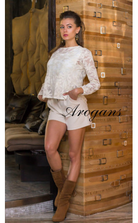 Блуза в цвят екрю Ясмин