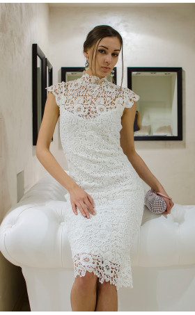 Бяла дантелена рокля Pure Love