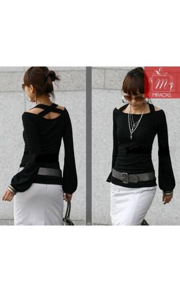 Красива черна блуза Мариелена _11936