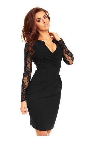 Официална рокля с дантелени ръкави Кристъл