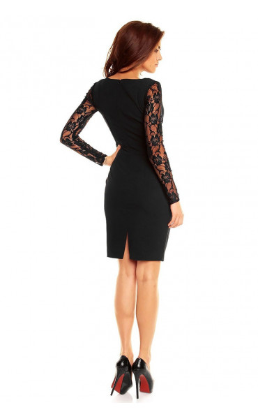 Официална рокля с дантелени ръкави Кристъл_12864
