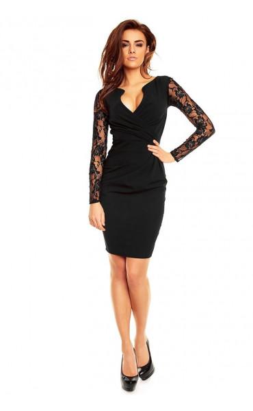 Официална рокля с дантелени ръкави Кристъл_12865