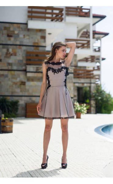 Официална рокля подплатена с тюл Карa_13334