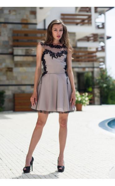 Официална рокля подплатена с тюл Карa_13335