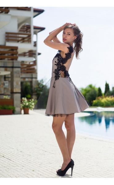 Официална рокля подплатена с тюл Карa_13336