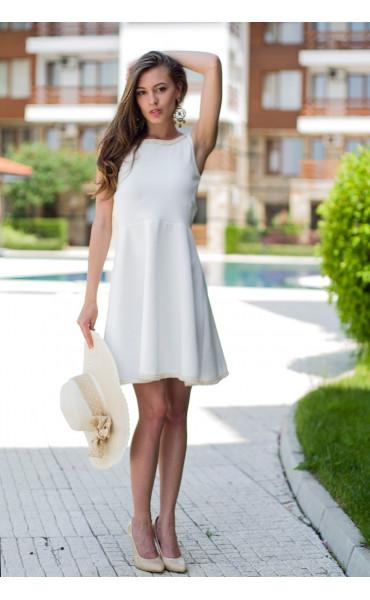 Бяла рокля с плетена дантела Никол_13402