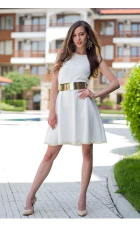 Бяла рокля с плетена дантела Никол