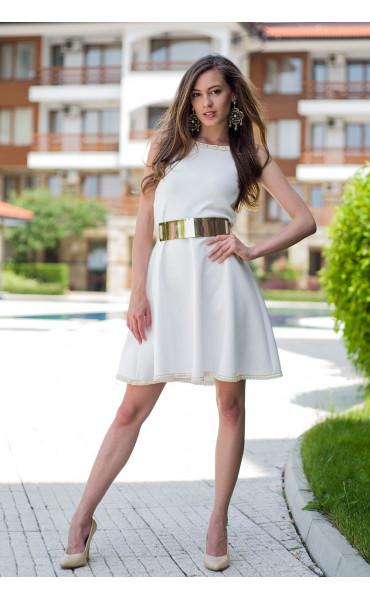 Бяла рокля с плетена дантела Никол_13403