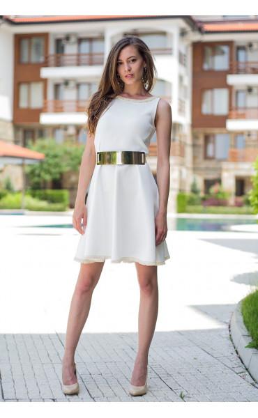 Бяла рокля с плетена дантела Никол_13404
