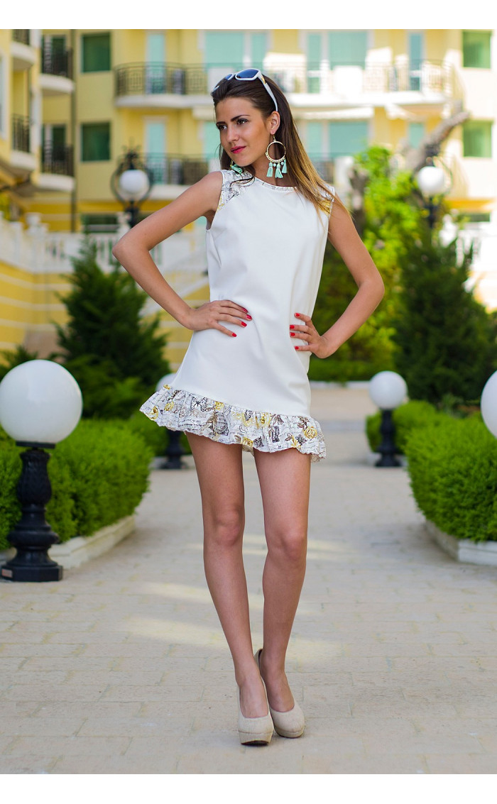 Къса рокля с къдрички Линет