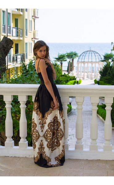 Сатенена луксозна дълга рокля Барок _13445