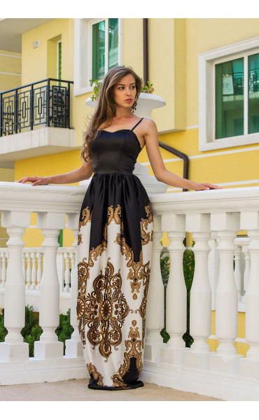 Сатенена луксозна дълга рокля Барок _13446