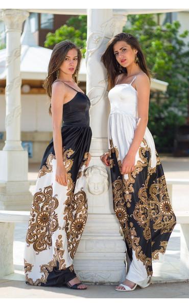 Сатенена луксозна дълга рокля Барок _13449