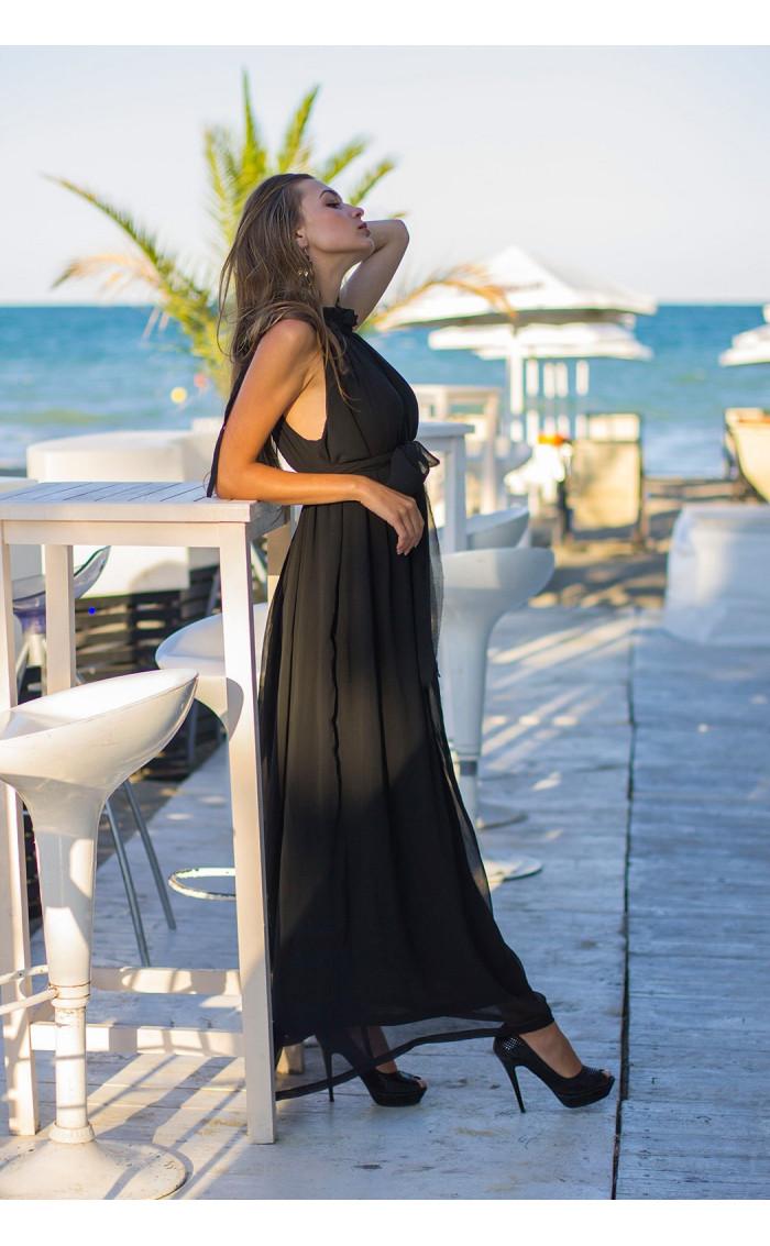 Черна дълга лятна рокля от шифон Ира