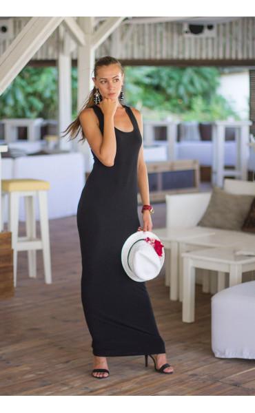 Черна дълга лятна рокля Кайли
