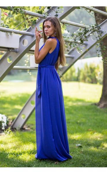 Елегантна дълга лятна рокля в синьо  Даниел