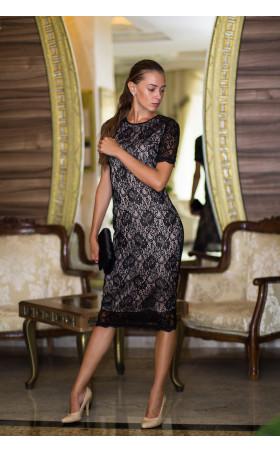 Дантелена рокля с бежова подплата Агнес