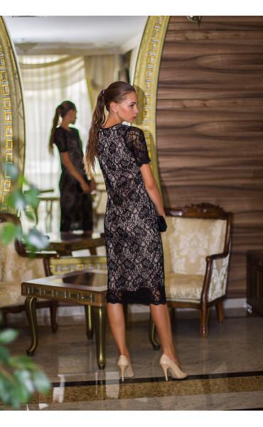Дантелена рокля с бежова подплата Агнес_13841