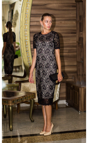 Дантелена рокля с бежова подплата Агнес_13842