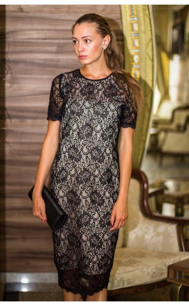 Дантелена рокля с бежова подплата Агнес_13843