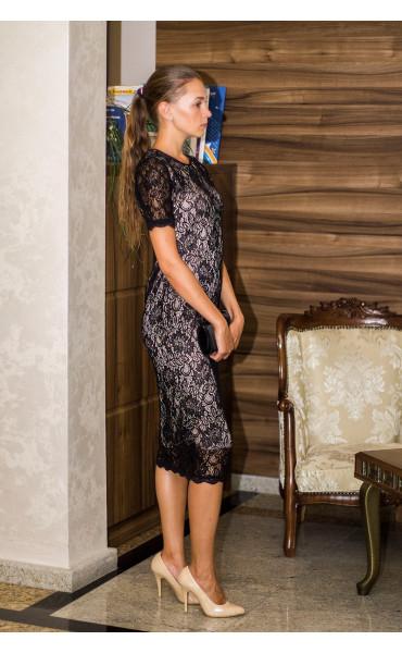 Дантелена рокля с бежова подплата Агнес_13844