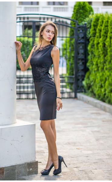 Официална черна рокля Нанси_13920