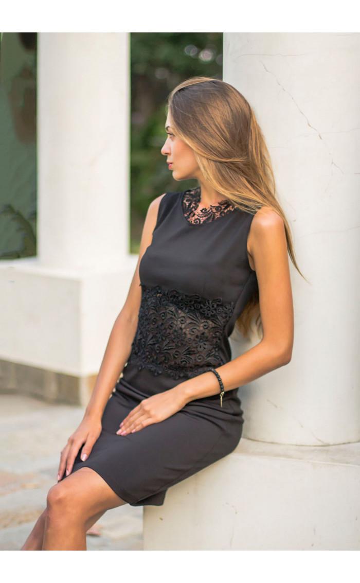 Официална черна рокля Нанси