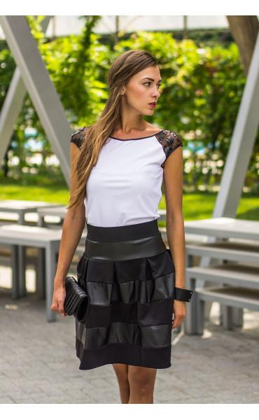 Блуза с кожена дантела Фара_13940