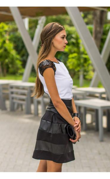 Блуза с кожена дантела Фара_13941