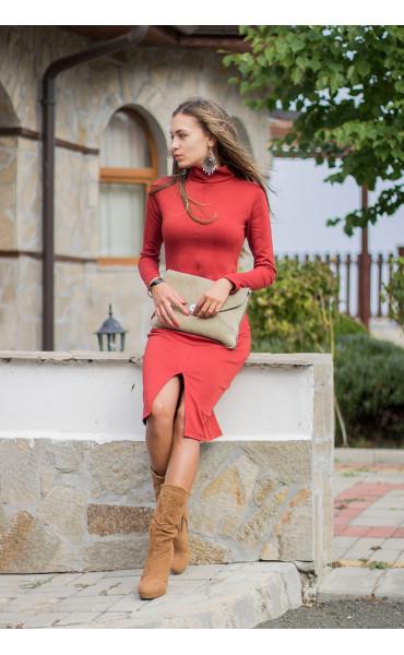 Есенно зимна рокля Стефания в цвят керемида_14002