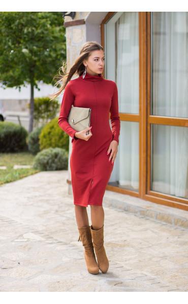 Есенно зимна рокля Стефания в цвят керемида_14005