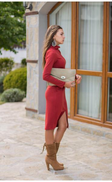Есенно зимна рокля Стефания в цвят керемида_14006