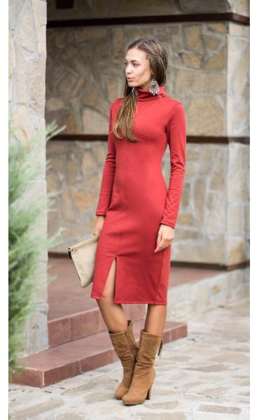 Есенно зимна рокля Стефания в цвят керемида_14008