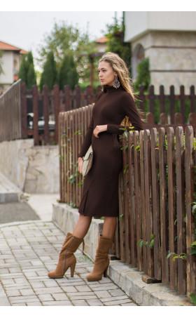 рокля Стефания в шоколадово кафяво