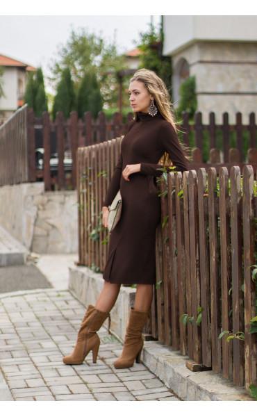 рокля Стефания в шоколадово кафяво_14054