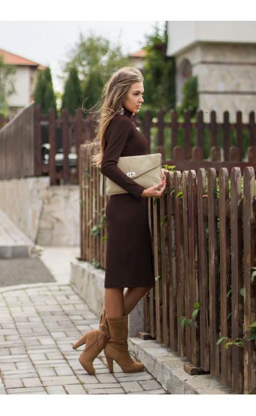 рокля Стефания в шоколадово кафяво_14055
