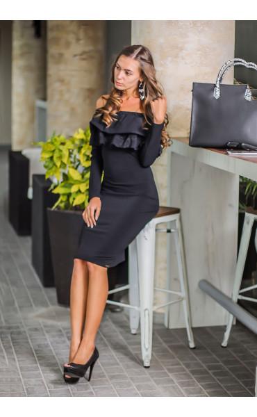 Елегантна официална черна рокля Алина с дантела
