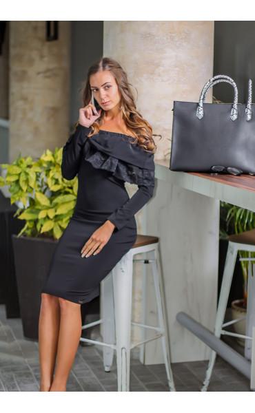 Елегантна официална черна рокля Алина с дантела_14105
