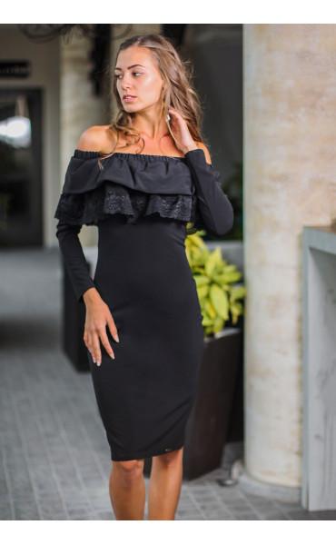 Елегантна официална черна рокля Алина с дантела_14106