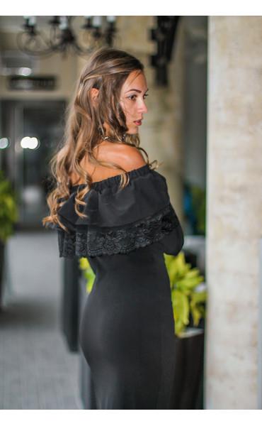 Елегантна официална черна рокля Алина с дантела_14109