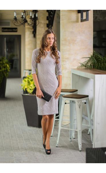 Елегантна рокля със сребриста дантела_14114