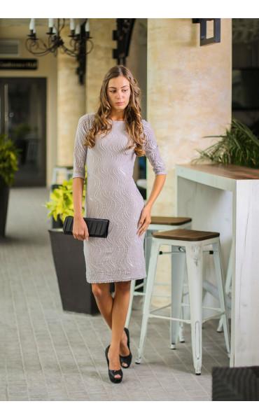 Елегантна рокля със сребриста дантела_14115