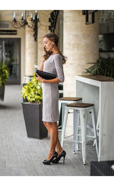 Елегантна рокля със сребриста дантела_14116