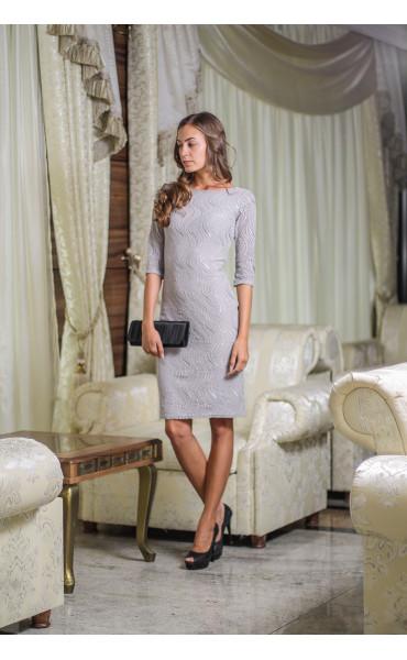 Елегантна рокля със сребриста дантела_14118