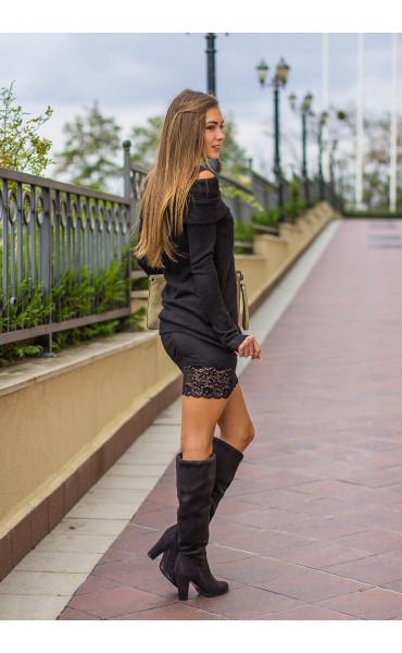 Сет Карина - туника от плетиво и рокля с дантела_14135
